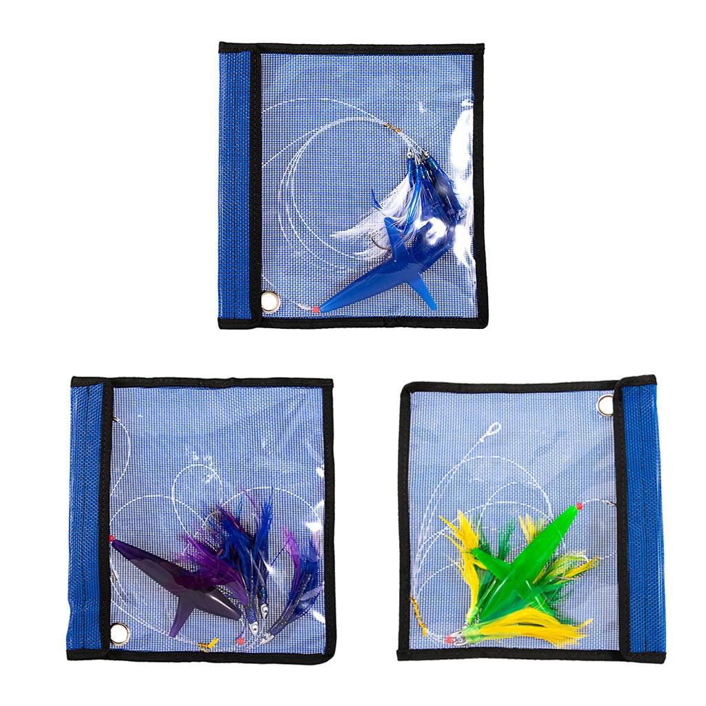 3x señuelos de arrastre, plumas de aves, agua salada en alta mar con bolsa, aparejos de pesca, señuelo