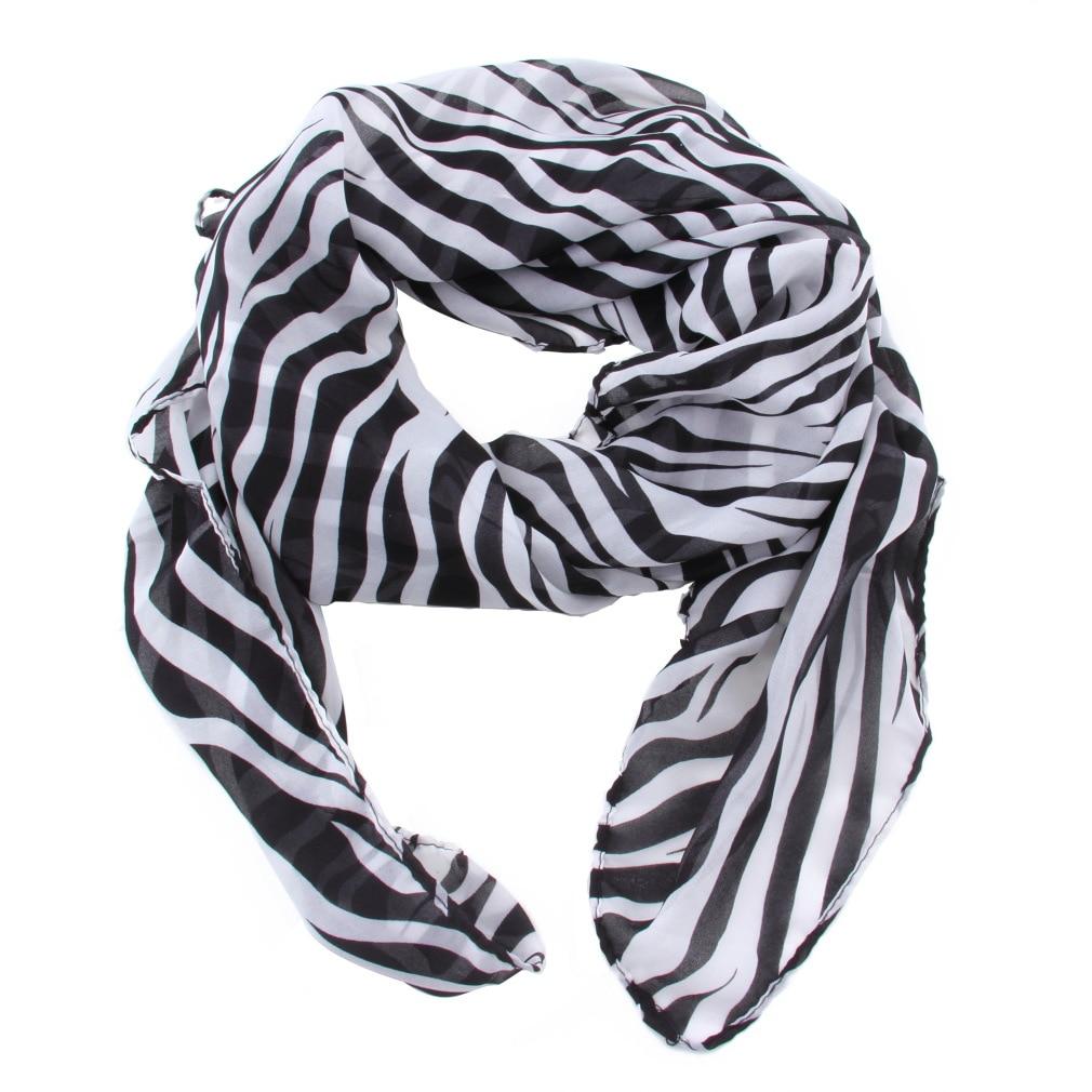 Ladies Long Zebra Printed Chiffon Scarf For Women Silk Scarves Shawl Winter Cachecol Feminino