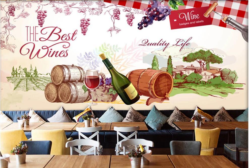 Papel de pared 3 d, mural personalizado de decoración del hogar en la pared, pintado a mano de uvas rojas, vino, bar, bodega, papel tapiz de foto en la sala de estar