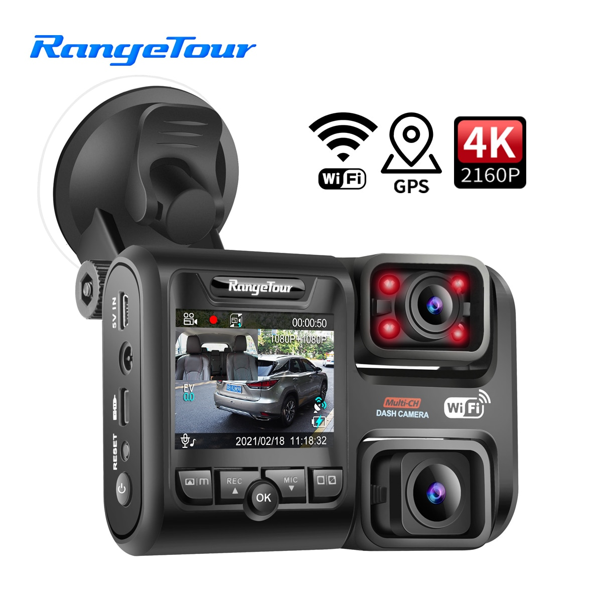 4K 2160P DVR D30H Dash Camera ، متوافق مع WiFi GPS ، كاميرا أمامية وكابينة ، 1080P 4 IR G ، مسجل فيديو ليلي