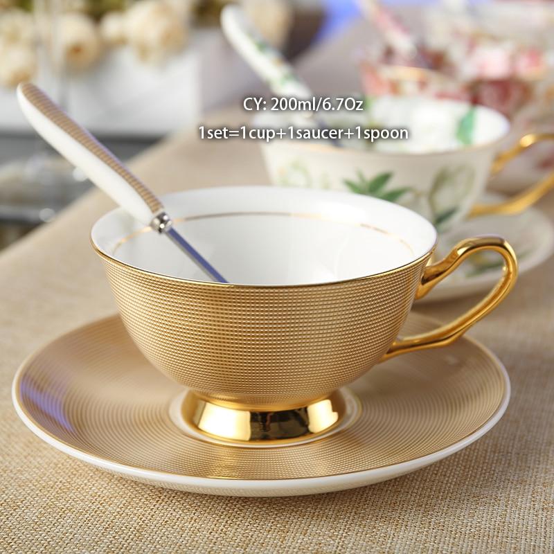 Europe Noble Bone China Coffee Cup Saucer Spoon Set 200ml Luxury Ceramic Mug Top-grade Porcelain Tea Cup Cafe Party Drinkware