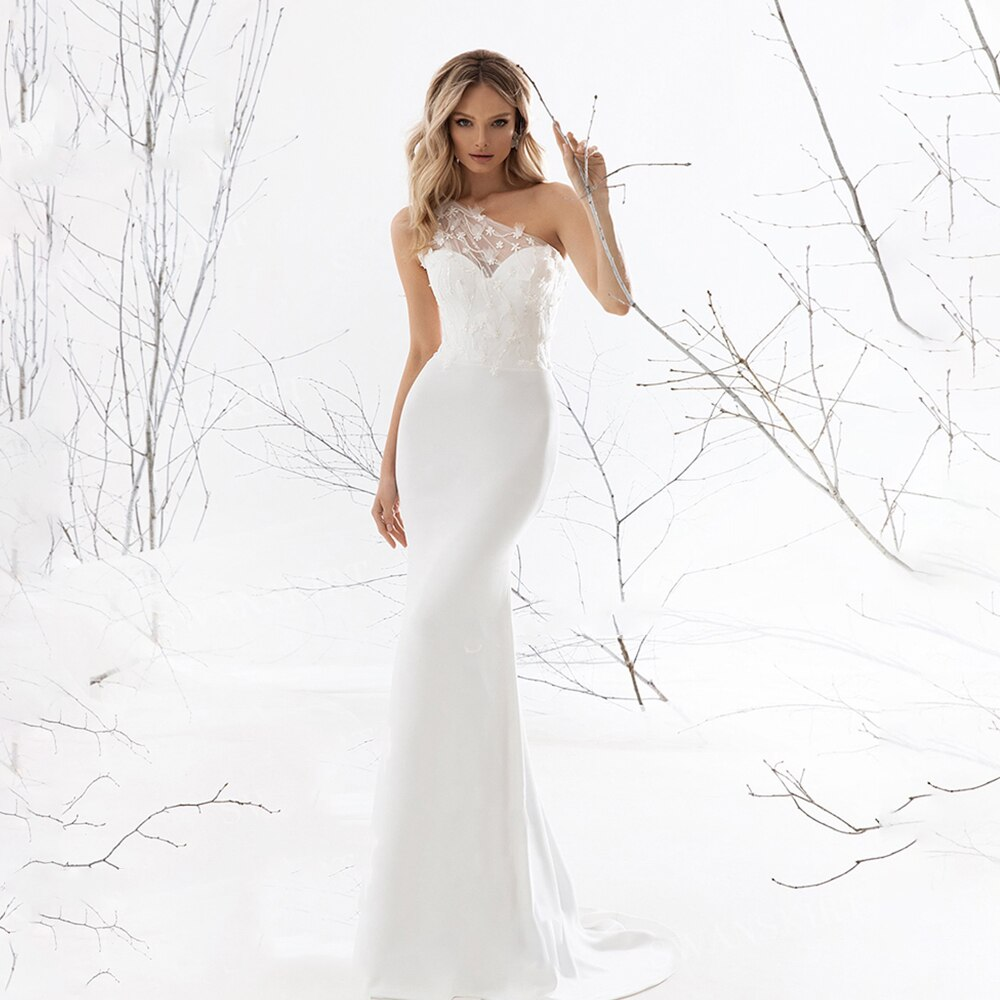 Get Elegant Sleeveless Mermaid Wedding Dress Sweetheart One Shoulder Zipper Back  Appliques Flower 2021 Bride Gowns Vestido De Noiva