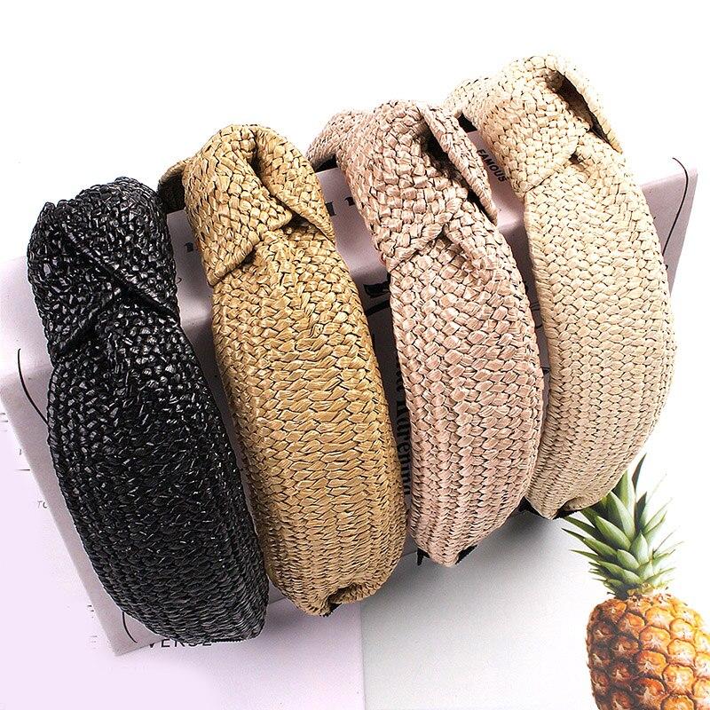 Las nuevas mujeres de pelo paja tejido cinta de cabello con Nudo negro Cruz ancha cintas de cabello con nudo de bisel hecho a mano accesorios para el cabello