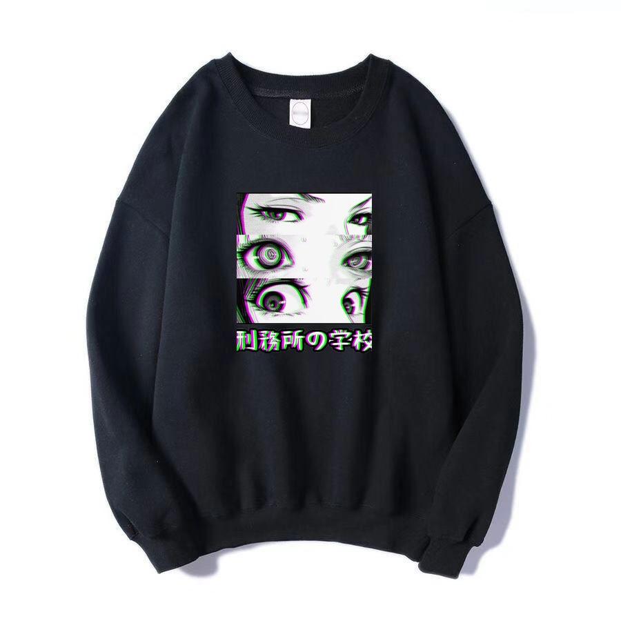 Japan Anime Prison School Eyes Sad Men Sweatshirt Hip Hop Fashoin Hoodies 2019 Spring Winter Hot Sale Casual Loose Fit  Pullover