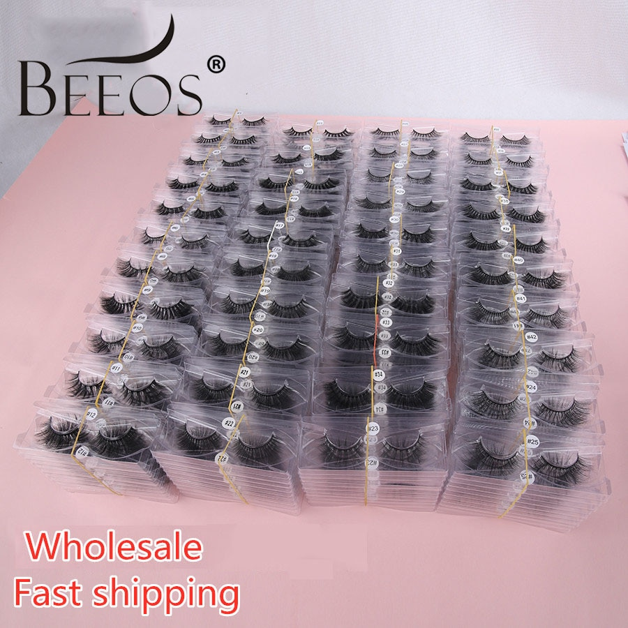 Faux 3D Mink Lashes Wholesale 10/50/100 Pairs Make Up Eyelash Extension Tools For Beauty Natural Eyelashes Mink Fluffy Lash Bulk