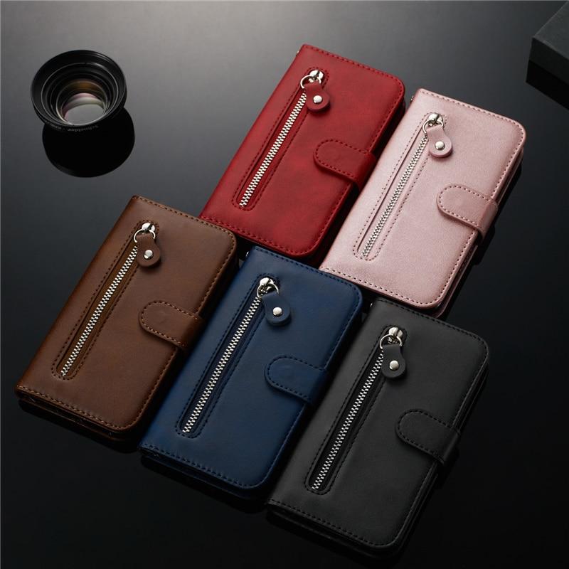 Para Samsung Galaxy A10 A20 A30 A40 A50 A60 A70 S A51 A71 cremallera cartera caso para Samsung S20 S10 E S9 Plus Nota 9 10 Funda de cuero