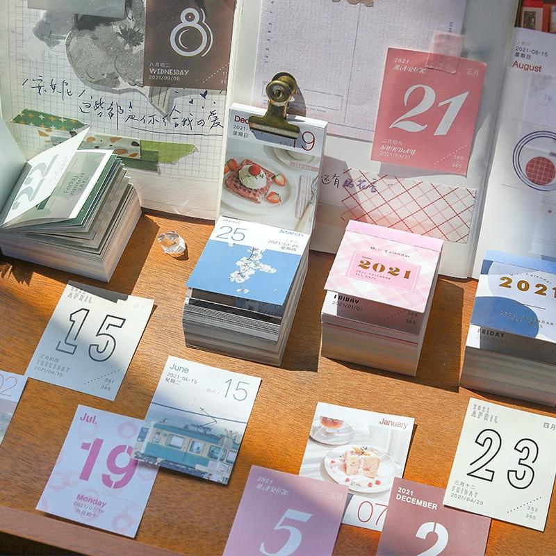 365pcs 2021 Mini Calendar Cards Cute Daily Weekly Monthly Periodic Planner Agenda Organizer Desk Calendar Office Supplies