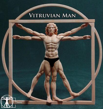Ensamblaje sin pintar escala 1/22 80mm Vitruvian hombre alta juguete histórico resina kit de miniaturas de Modelismo