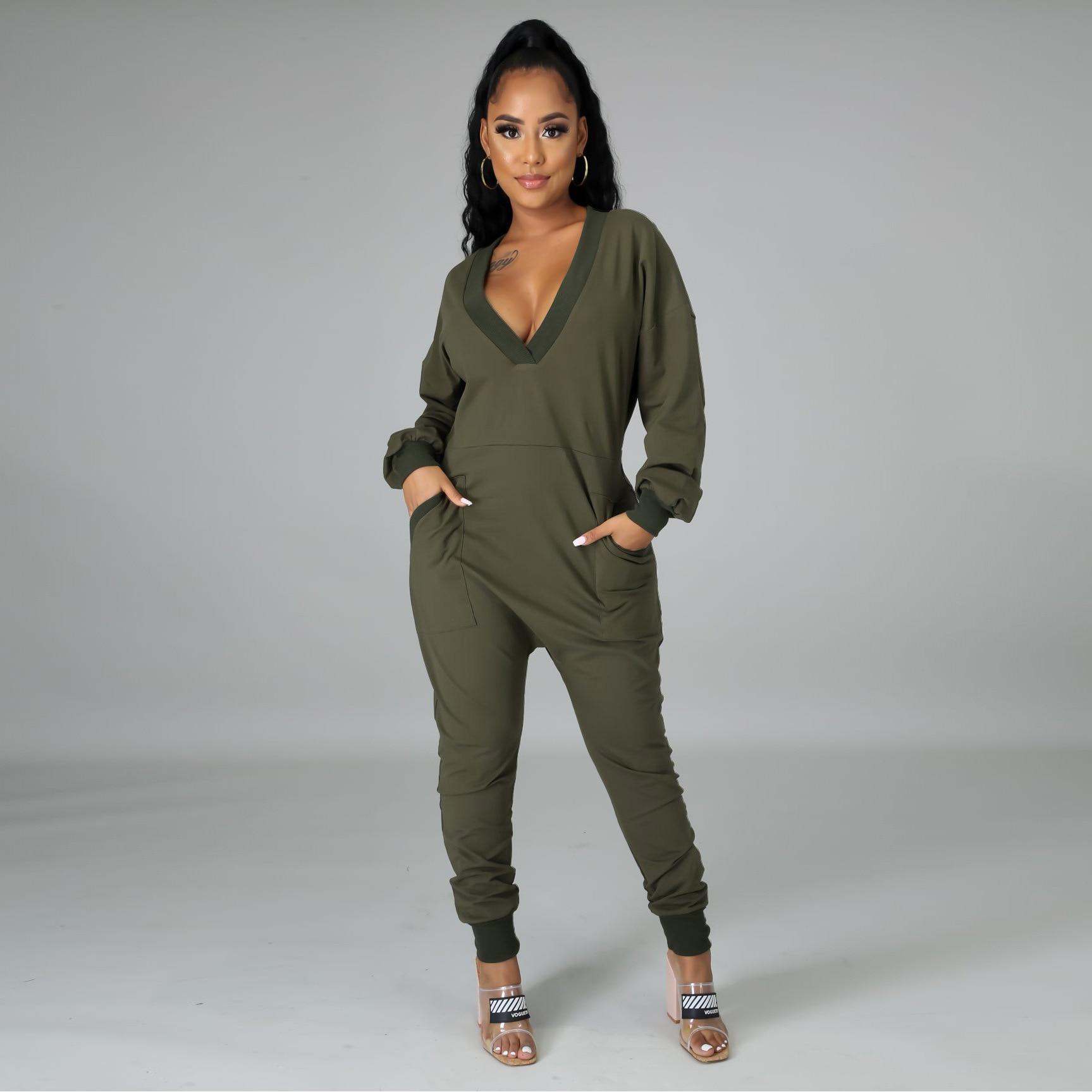 Ursuper New Fashion Jumpsuit Casual V Neck Pocket Design Green Plus Size One-piece Jumpsuit