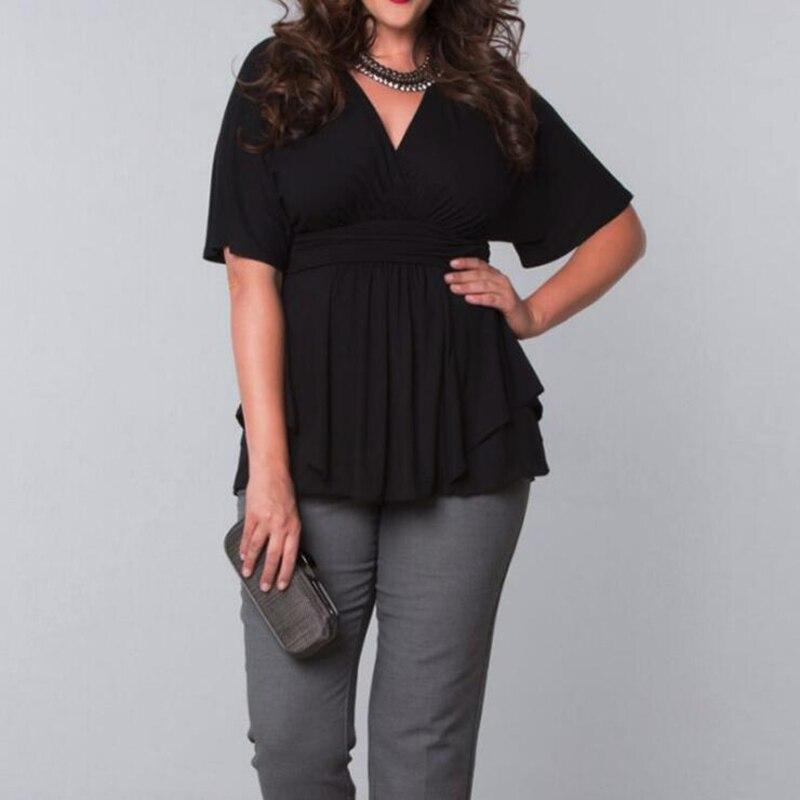 6XL cuello pico de talla grande Tops mujer Casual volantes camiseta mujer túnica blanco negro camiseta Oficina señoras elegante Jersey Streetwear