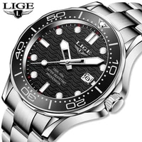 reloj lige top brand fashion sports diver watch for men steel waterproof date clocks man watch quartz wrist watches reloj hombre