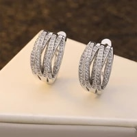 2021 trendy stainless steel cross designer hoop earrings for women silver color statement female jewelry wedding party gifts