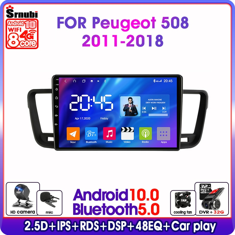 S11-Android 10.0 RDS DSP IPS 48EQ Car Radio Multimedia Video Player For Peugeot 508 2011-2018 2din 6G+128G 4G Mirror Connection