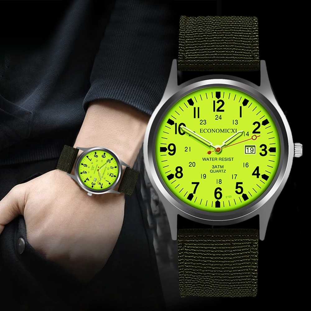 Men Calendar Stainless Steel Dial Watch Sport Quartz Bracelet Wristwatch Silicone Strap Casual Watch