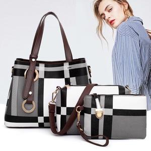 Plaid Print Luxury Handbags Brand Women Tote Bags Set 3pieces Crossbody Shoulder Bag Lady Clutch Purse High Quality Female Bolsa