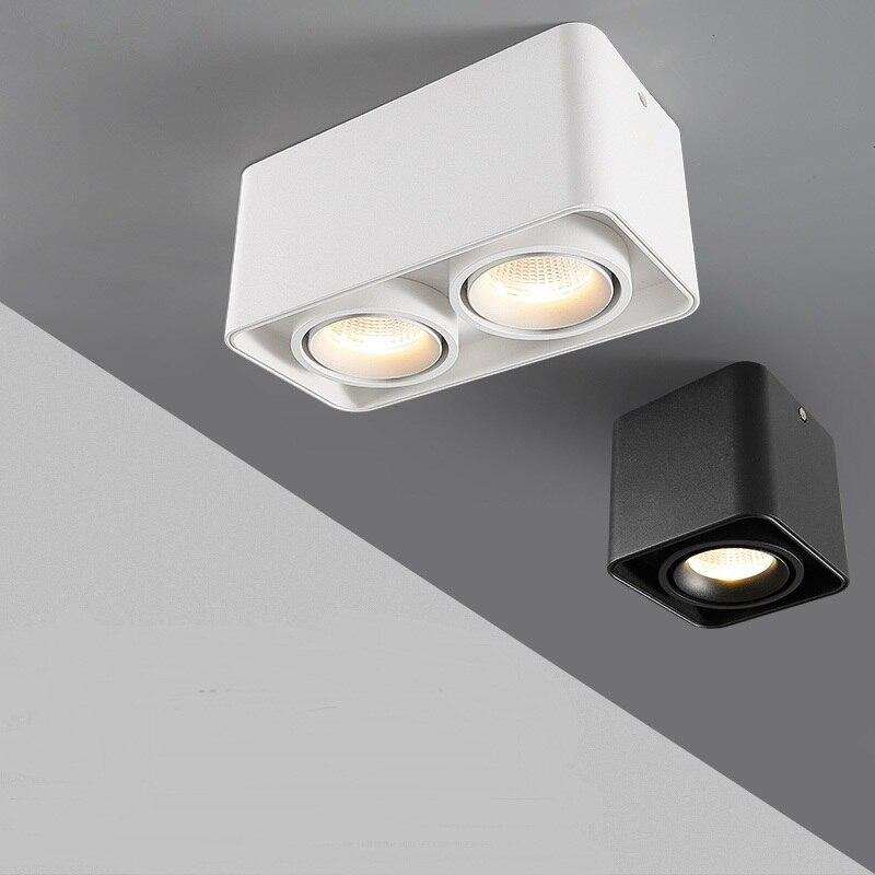 Luz descendente LED regulable 10W 15W 20W 30W COB Spot light individual/doble cabeza lámpara de techo montada en superficie Down light AC85V-265V
