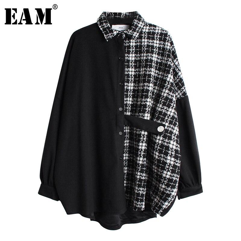 [EAM] mujeres Tweed Plaid Split tamaño grande blusa solapa nueva manga larga camisa holgada moda marea primavera otoño 2020 19A-a46