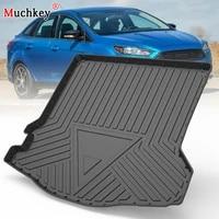 muchkey tpe trunk mat for ford focus sedan 2012 2013 2014 2018 car waterproof non slip custom rubber 3d cargo liner accessories