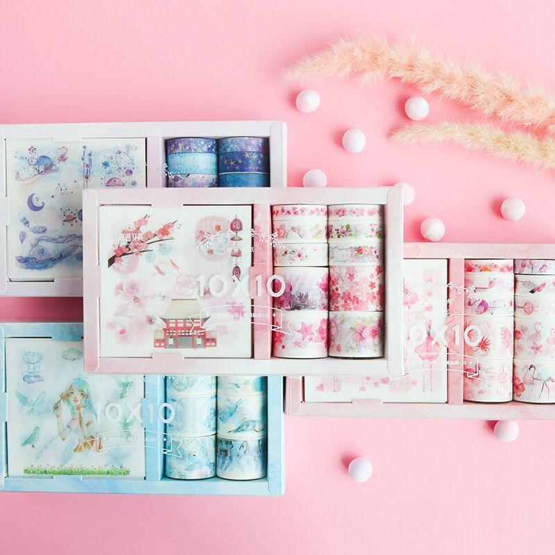 Pegatinas de bloc de notas con diseño de hadas para chicas, Accesorios para cuaderno de viaje, diario, cuaderno, álbum, cinta, decoración DIY, 10 Uds + 10 rollos