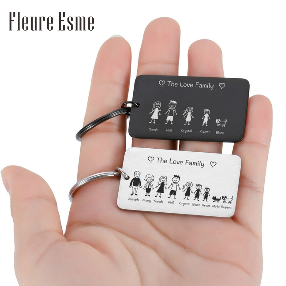 Фото - Love Cute Keychain Engraved Family Gifts for Parents Children Present Keyring Bag Charm Families Member Gift Key Chain member