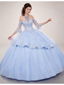 CloverBridal Lace Appliques ¾ Sleeves Quinceanera Gown Sparkling Tulle vestidos de 15 años 2021 vestido quinceanera 15 WQ9821
