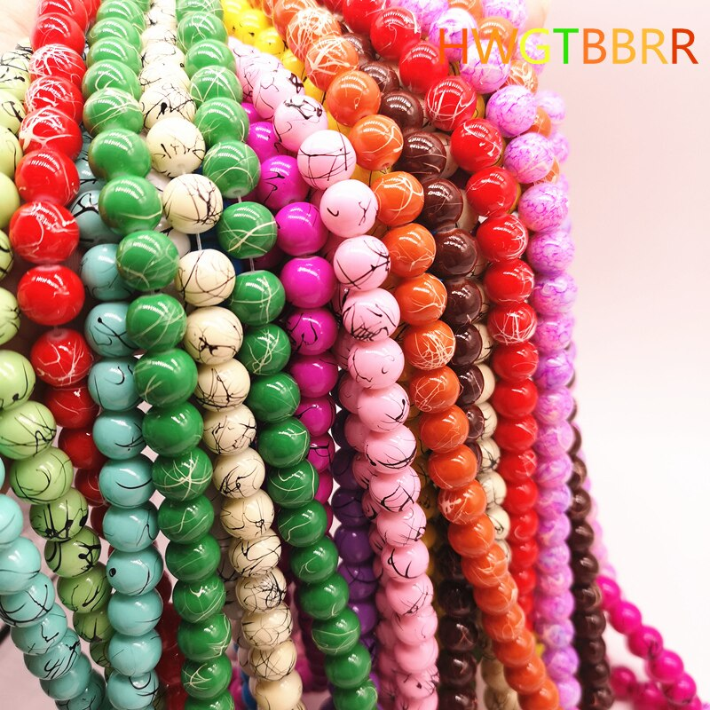 Wholesale 4/6/8/10mm Salad Glass Beads Loose Spacer Painted Charm For Jewellery Making Diy Bracelet