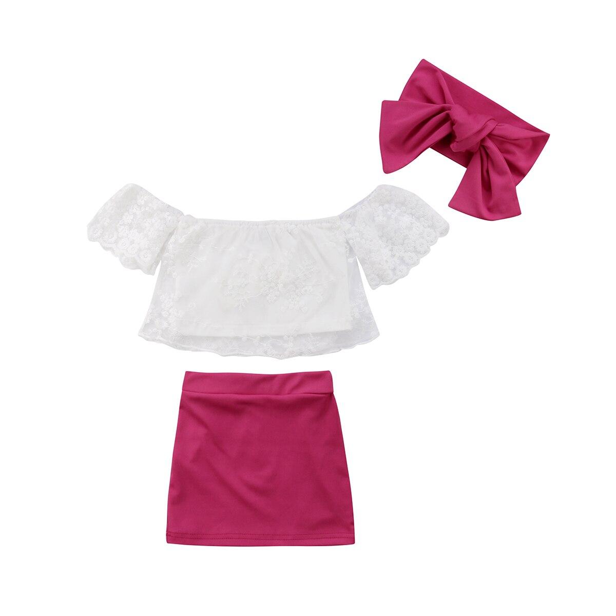 Nuevo verano niños bebé niña de hombro de encaje Floral blanco Tops camiseta + Rosa rojo faldas vestido pequeños bebés niñas trajes conjunto