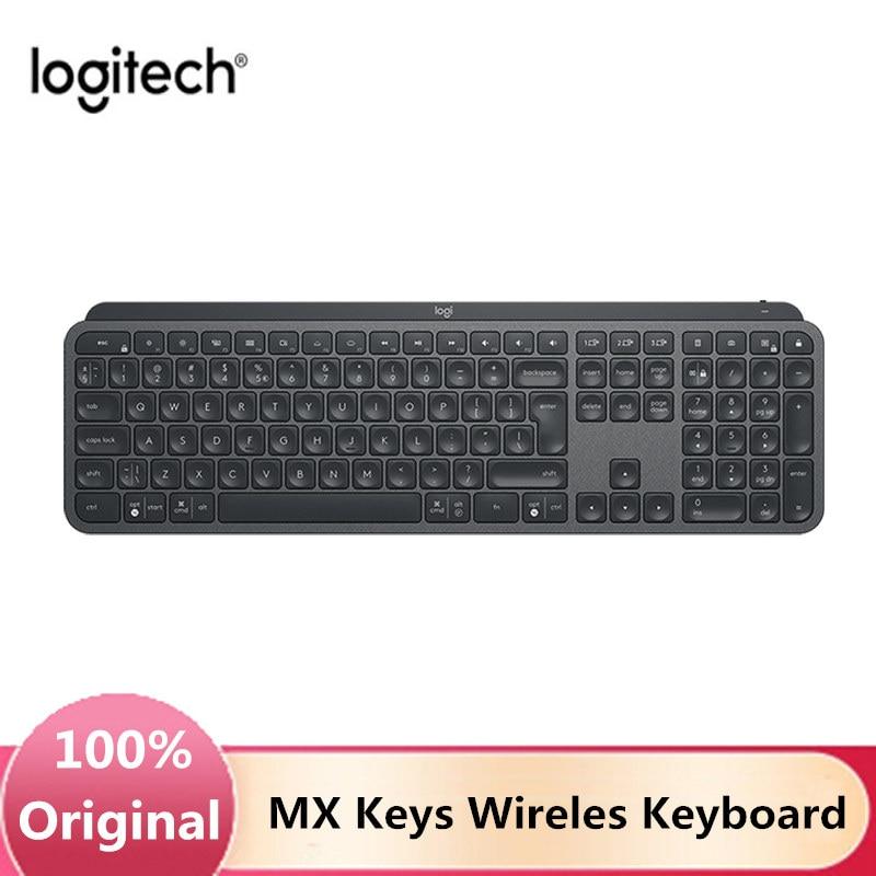 لوجيتك MX مفاتيح 2.4GHz بلوتوث لوحة المفاتيح اللاسلكية الخلفية لوحة المفاتيح 109 مفاتيح الحجم الكامل المزدوج وضع قابلة للشحن سهلة التبديل