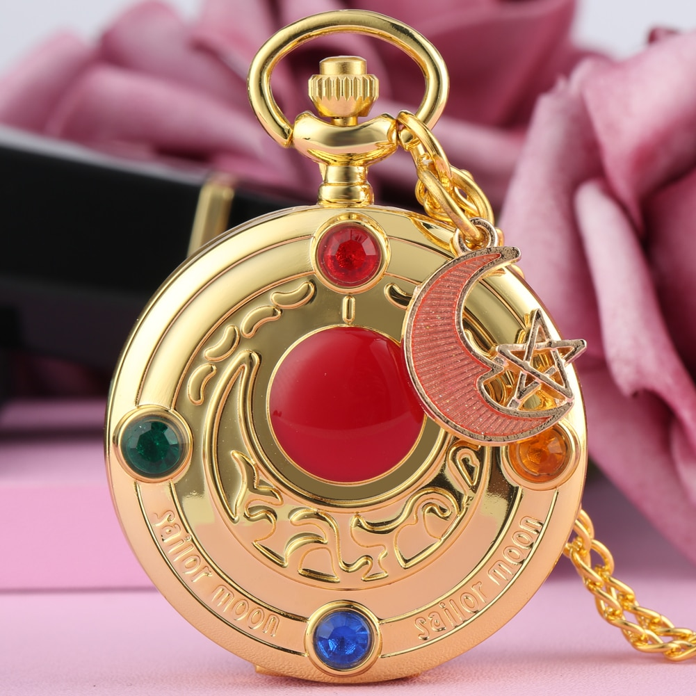 Luxury Women Quartz Pocket Watch Fashion Sailor Moon Design Steampunk Nice Accessory Necklace Pendant Chain Girls Watches Gifts color diamond case cover pocket watch girls sailor moon dial for female fancy red moon pendant clock accessory relogio de bolso