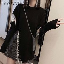 TVVOVVIN 성격 다이아몬드 술의 스웨터 여성 의류 2020 느슨한 중공 분할 풀오버 니트 톱 패션 가을 D232