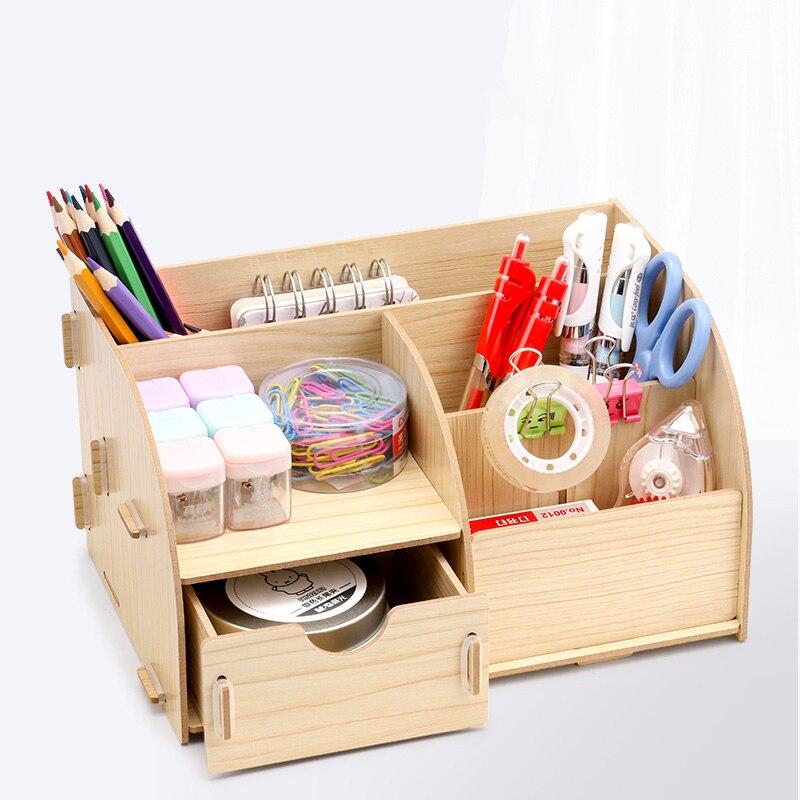 Настольная деревянная подставка для ручек, многофункциональный ящик в сборе для офиса, маленький свежий органайзер для хранения «сделай са...