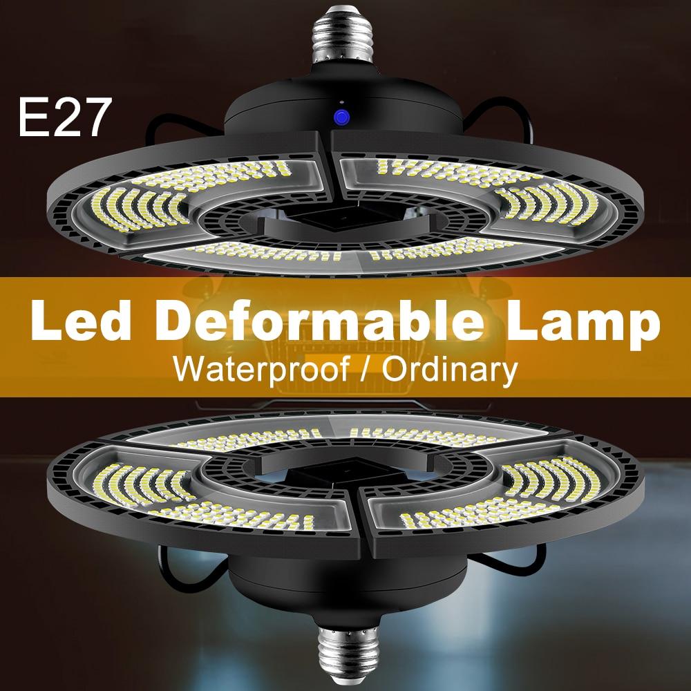 E27 Led Lamp 220V Garage Light 110V High Bay Bulb 60W 80W 100W 120W Folding Basement Lighting Waterproof Lampara For Industrial