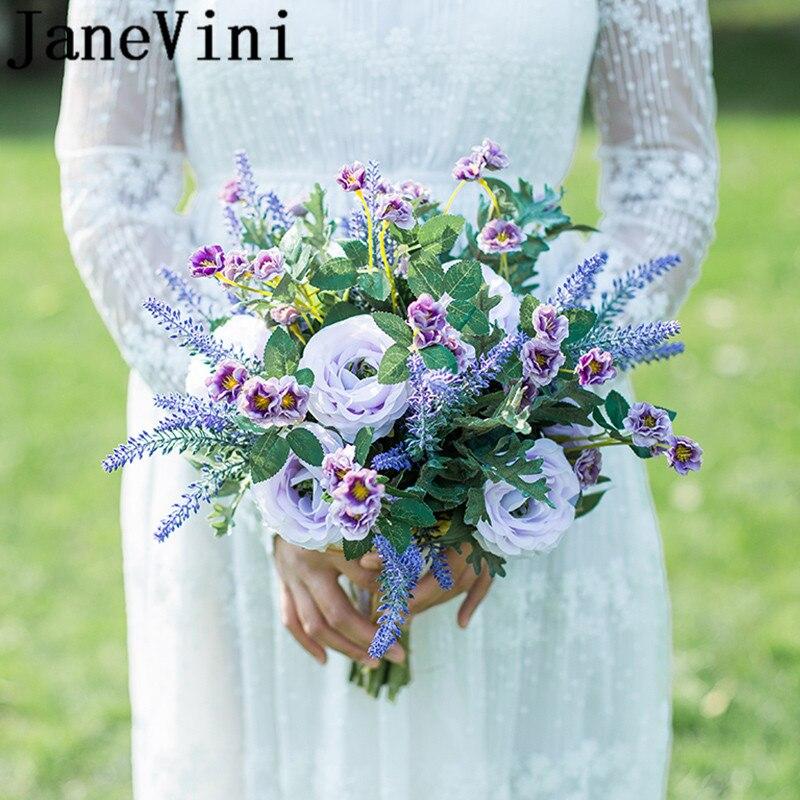 JaneVini Purple Lavender Bridal Silk Flower Bouquet Artificial Wedding Flowers Bouquets Sisters Bridesmaid Bouquet paarse rozen недорого