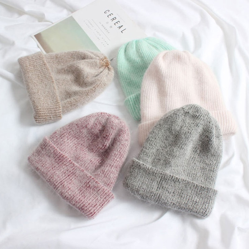 Hot Selling Winter Hat Real Rabbit Fur Winter Hats For Women Fashion Warm Beanie Hats Women Solid Ad