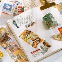 35cm vintage washi tape mini city fashion chill junk journal cool gift girl stationery decoration scrapbooking maskingtape