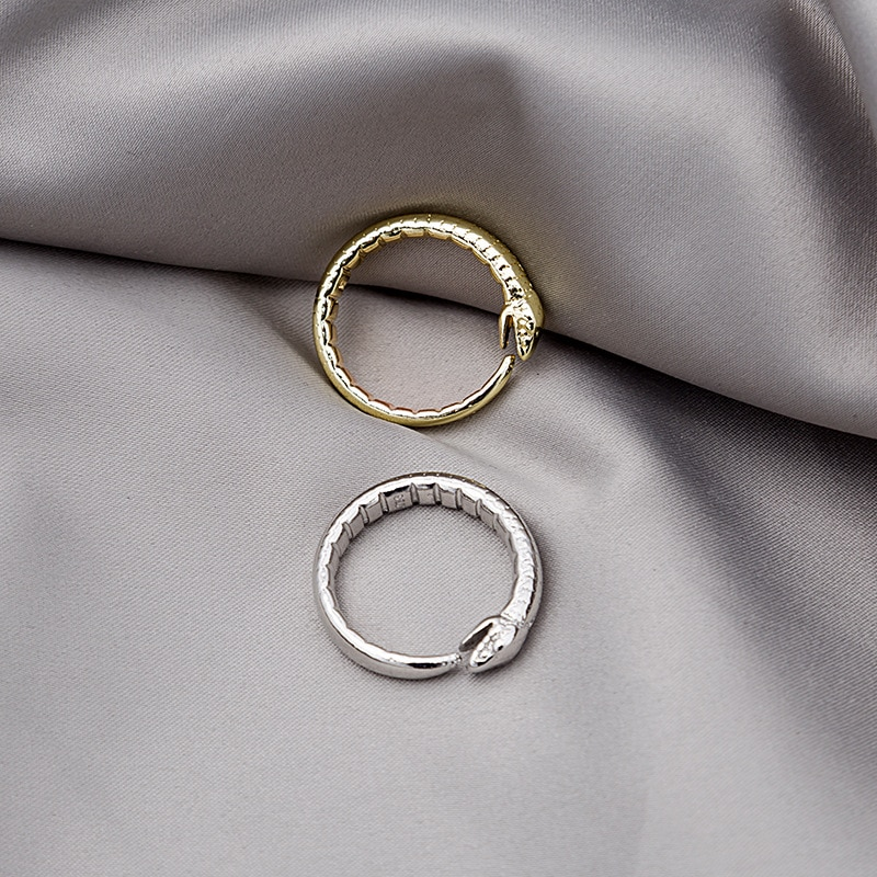 Korean Snake Shaped Metal Rings For Women Gold Silver Opening Simple Hip Hop Finger Ring Fashion Jewelry Wedding Female 2021 Hot