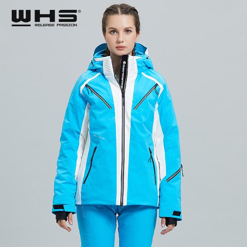 WHS Women's ski jacket ski jacket European Women's Waterproof Warm and Breathable Ski Jacket New Fashion Slim Fit