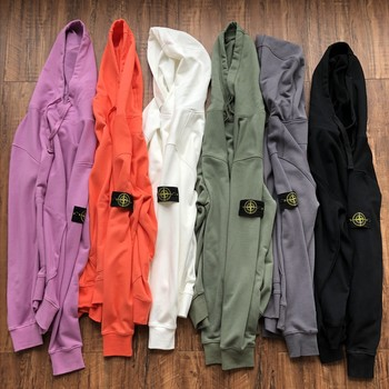 STONE ISLAND 21ss Classic Basic Shoulder Arm Badge Spring Hooded Sweater Hoodie Men Women Couple Style