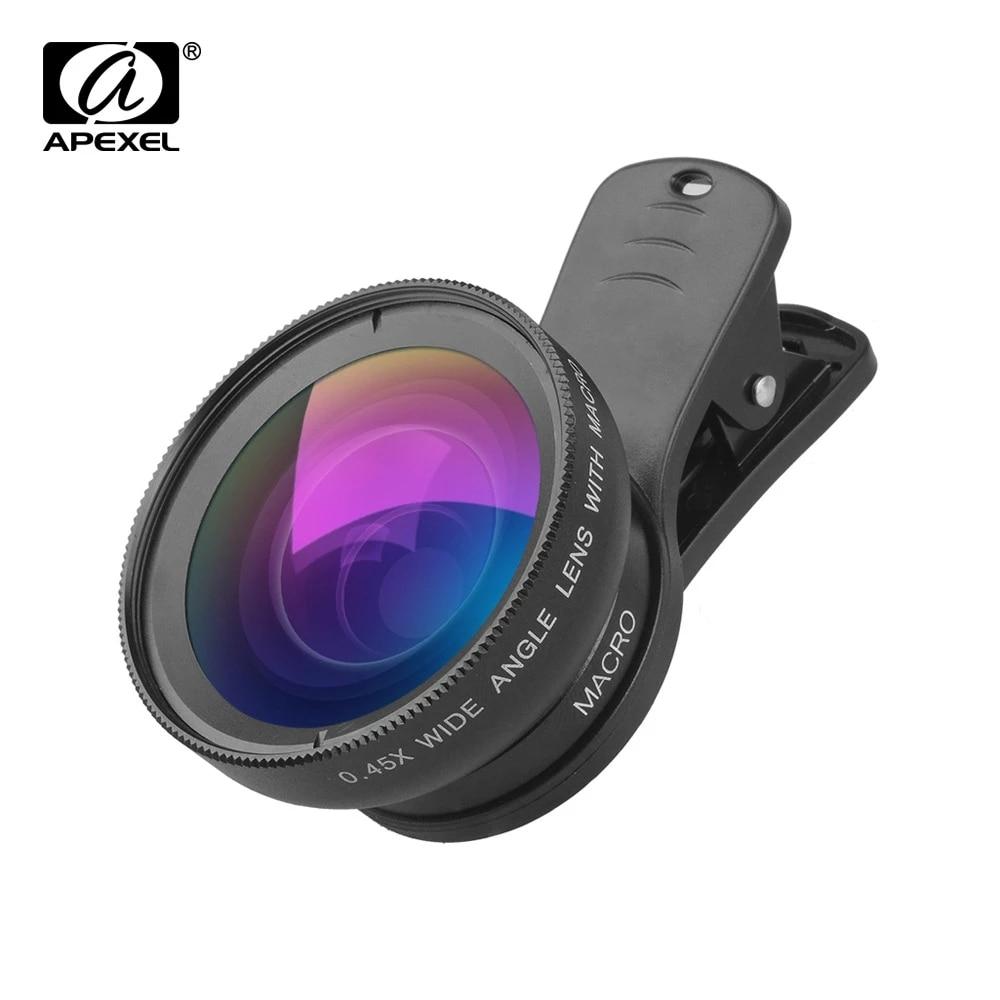 lente super grande angular apexel hd 045x lente super macro de 125x kit de lentes