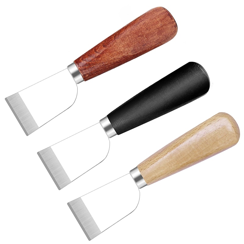 LMDZ Sharp Leather Skiving Knife Cutting Knife Tools DIY Leather Craft Safety Leather Cutting Knife with Wooden Handle DIY Tool jiwuo professional stainless steel leather carving thinning diy shovel leather craft knife cutting skiving handmade tool