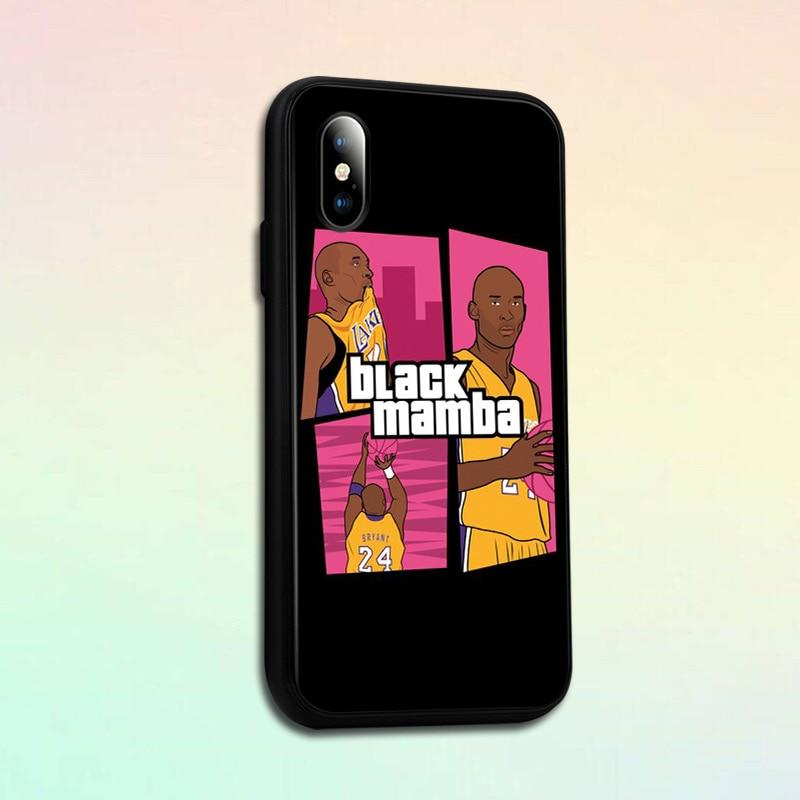 Kobe Black Mamba basquetbol Lakers para iPhone SE 6 6s 7 8 plus x xr xs 11 Pro max, funda de teléfono de vidrio templado, funda de silicona suave