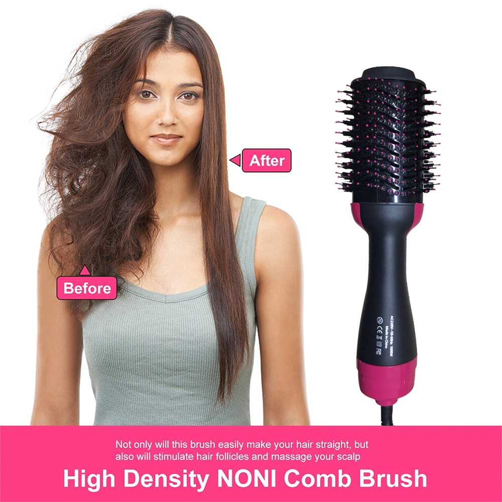 1000W Hair Dryer Hot Air Brush Styler and Volumizer Hair Straightener Curler Comb Roller One Step Electric Ion Blow Dryer Brush