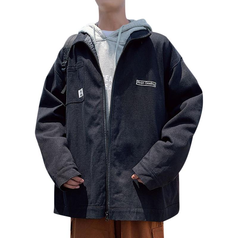 Мужская повседневная куртка с отложным воротником осенняя Свободная принтом