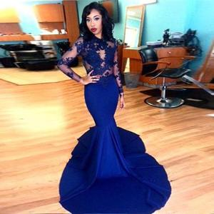 Blue Prom Dress Mermaid High Collar Long Sleeves Appliques See Through Long Prom Gown Evening Dresses Robe De Soiree
