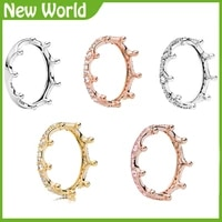 new 925 sterling silver ring classics openwork linked love heart princess tiara royal crown ring for women gift pando jewelry