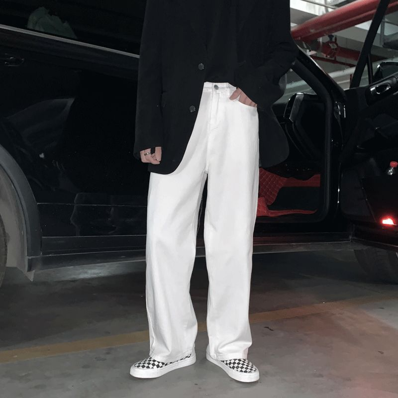 Однотонная одежда джинсы для мужчин в Корейском стиле Модные свободные повседневные джинсы для мужчин Харадзюку уличная одежда ретро широ...