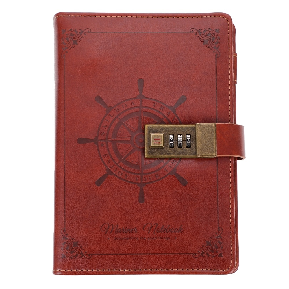 1pc Premium Coded Lock PU Vintage Notebook Diary Book Note Pad for Daily Use