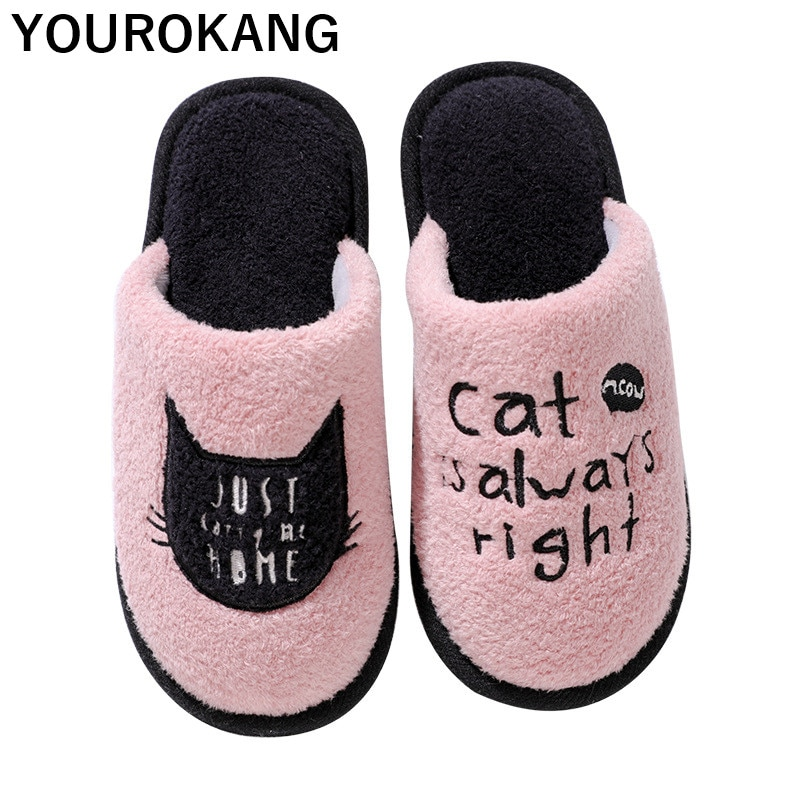 Cartoon Men Home Slippers Winter Indoor Shoes Bedroom Floor Flip Flops Warm Soft Plush Furry Cat Household Footwear New Arrival