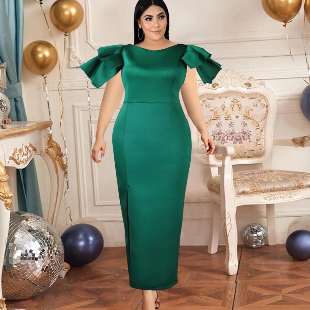 فستان سهرة نسائي ضيق ، أخضر ، أكمام قصيرة ، كشكش ، شق ، عيد الميلاد ، طويل ، تاريخ الخروج ، أزياء النادي ، مجموعة جديدة
