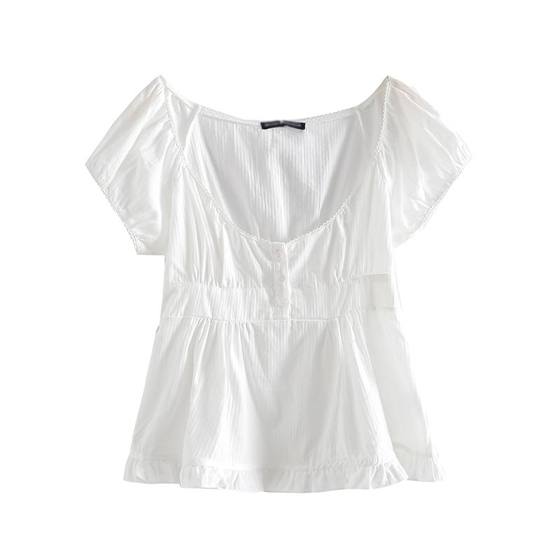 PUWD Slim Girls Sweet Tshirts 2021 Summer Fashion Ladies Stylish Soft Cotton Short Tees Vintage Women Cute Tops Chic